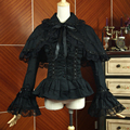 Spring women white shirt Vintage Victorian Ruffled lace shirts Ladies gothic Shawls blouse lolita costume