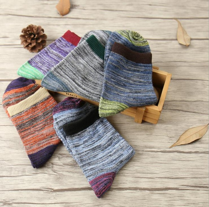 ankle socks vintage patchwork casual Polyester cotton elastic short for spring autumn winter Men Man Male Boy  Wh