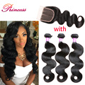 Grade 7A Brazilian Virgin Hair With Closure Brazilian Body Wave With Closure 3 Bundles Unprocessed Human Hair With Closure