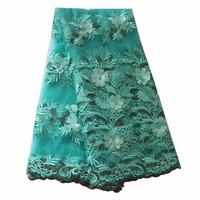 Ourwin 3d Lace Fabric 2019 High Quality Lace Latest African Laces Fabric With Beads Wedding Aqua Nigerian French Lace Fabric