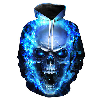 Hoodies 3D Sweatshirt Ghost Fire Skull Print