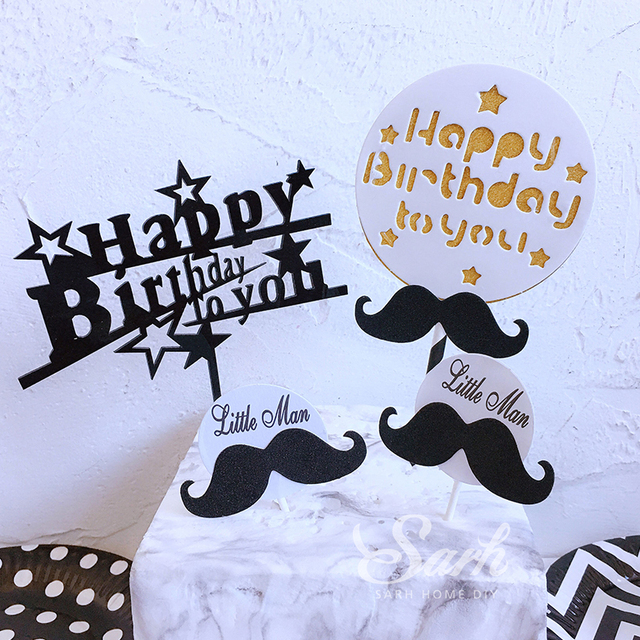 white black boy happy birthday little man mustache cake topper for party