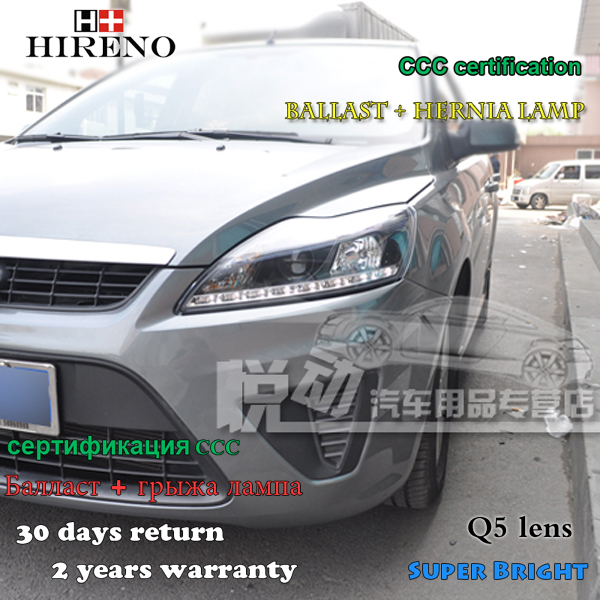 Hireno Car styling Headlamp for 2009-2011 Ford Focus Headlight Assembly LED DRL Angel Lens Double Beam HID Xenon 2pcs