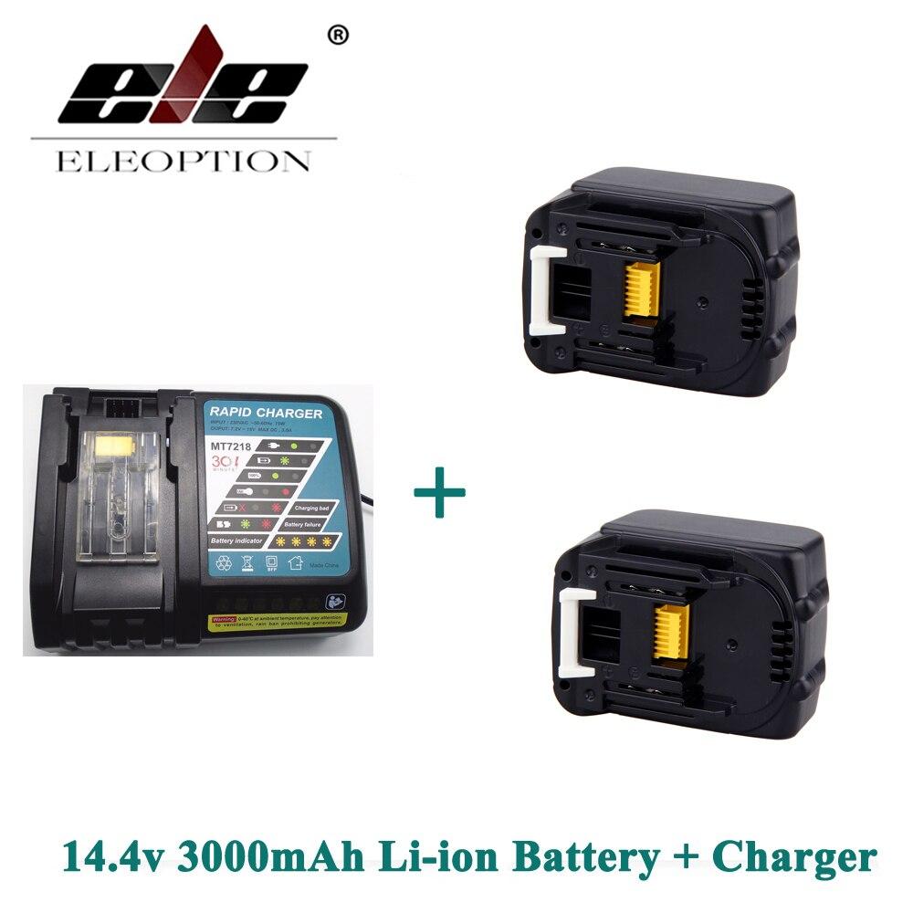 ELEOPTION 3000 mAh 3.0Ah 14.4 V Li-ion 2 pièces Rechargeable batterie pour Makita BL1415 BL1430 BL1440 + Chargeur
