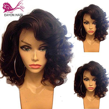 EAYON 13x6 Short Bob Lace Front Wigs Human Hair Natural Wave Indian Non-remy Black Pre Plucked Bleached Knots For Women
