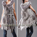 CX-G-B-07  New  Women's Genuine Knitted Rabbit Fur Vest Long Fur Collar Lady Natural Gilet/ waistcoat Outerwear veste