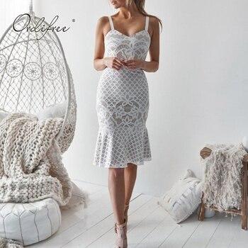 ed6a9003cfc Ordifree 2019 летнее женское белое кружевное платье сарафан крючком миди  платье Спагетти ремень сексуальное облегающее платье вечерние с рюшами
