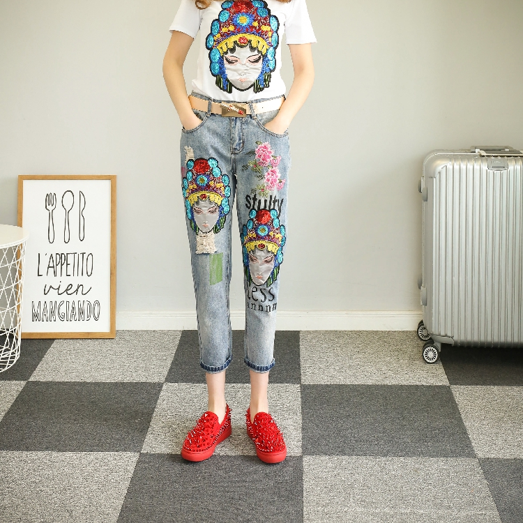 QA1212 New arrival Korean style casual pencil pants women embroidery sequin vintage ripped jeans 2017 new korean casual cat embroidery loose jeans pants