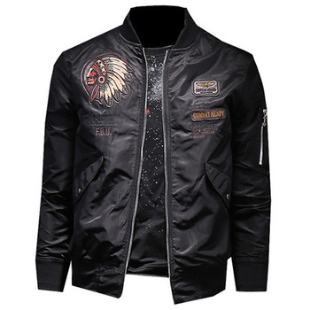 Air Force Airman's Automotive Leather Jacket Coat Plus Size 4XL Embroidered Indian Chief Pattern Youth Leather Jackets Man C1683 Men's Jackets & Coats