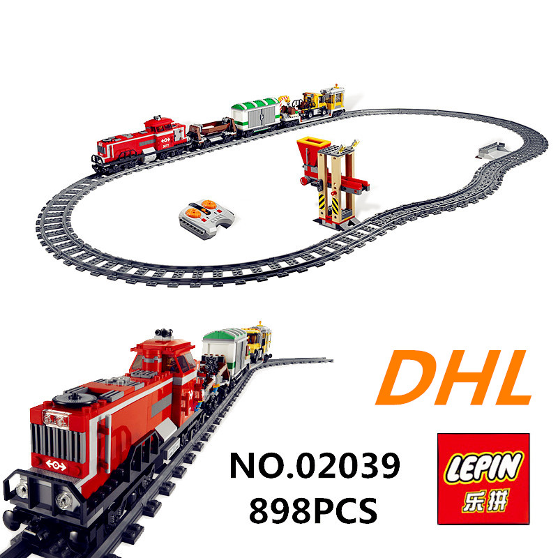 LEPIN 02039 898pcs City Red Cargo Train Building Brick Blocks RC Train Model educational Toys for children Gifts Develop 3677 superwit 72pcs big size city diy creative building blocks brick compatible with duplo sets lepin educational toys children gifts