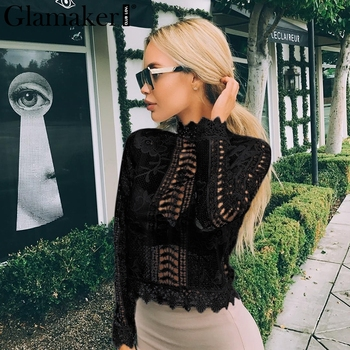 Elegant hollow out blouse Winter tops female blouse long sleeve blusas