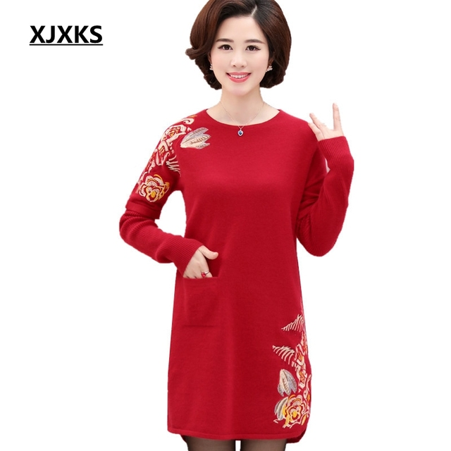 Xjxks Spring And Autumn And Winter Cashmere Sweater Dress 2018 New