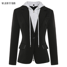 High Quality Newest Spring Designer Womens Blazer Jacket Zip Hooded Removable Single Buttons Office Female Outerwear