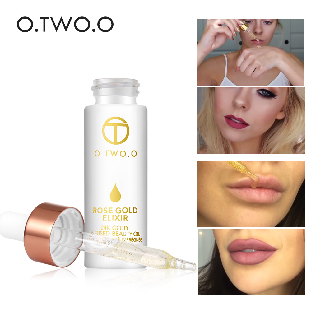 O.TWO.O 24k Rose Gold Elixir Skin Make Up Oil For Face Essential Oil Before Primer Foundation Moisturizing Face Oil Anti-aging золотые серьги по уху