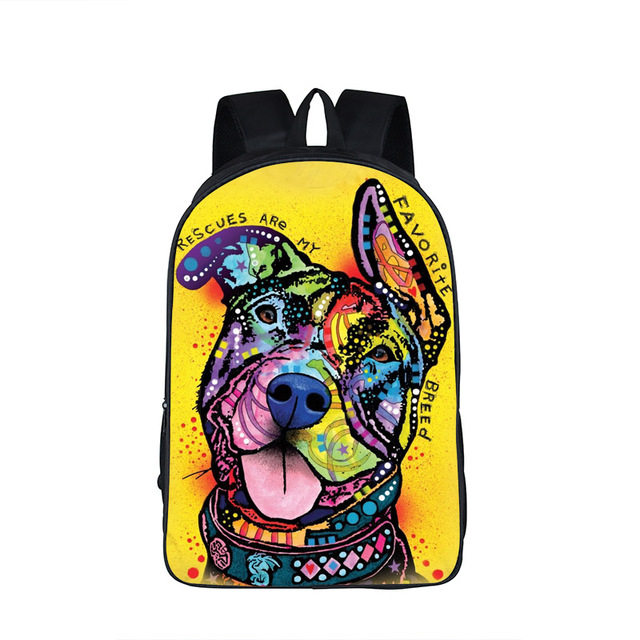 Funny Colorful Dog Printed Backpack