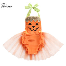 Halloween Baby 2018 Newborn Girls Clothes Pumpkin Printed Romper Dress Toddler Cute Orange Costume 0-24M(China)