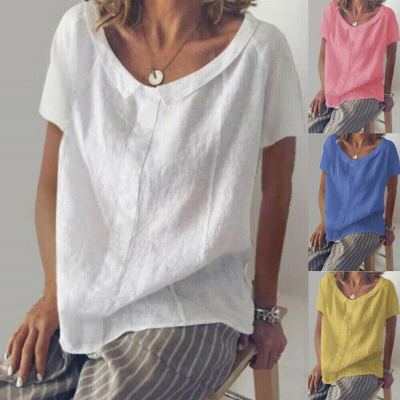 Women Plus Size Summer Tunic Holiday Ladies Cotton Linen T-shirt Tops S-XXXL