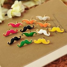 New Fashion Drip Oil Beard Mustache Shape Stud Earrings For Women Candy Color Ear Stud Jewelry Gift Boucle d'oreille Femmes C237(China)