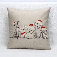 2018 Navidad Vintage lindo perro sofá cama decoración del hogar caja cojín Festival funda de cojín 2o0427