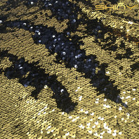 Shinybeauty 5 Yard 4 ways Gold and Black Sparkly Embrodiery Mesh Lace Sequin Fabric For Clothes/Part Cushion Decor
