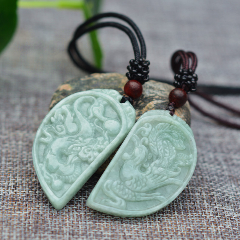 Drop shipping Natural AAA Jadeite Jades Pendant 3D Handmade Carved Chinese Dragon Phoenix Lovers' Pendants Amulet Jewelry+Rope