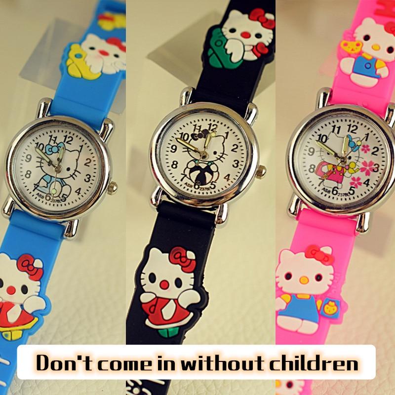 Hello Kitty Cat Children Watches Little Girls Quartz Wristwatches Waterproof cute Jelly Kids watch Students Clock free shipping