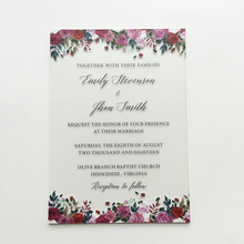 100 Pieces Per Lot Unique Floral Watercolor 5x7inch Frosted Acrylic Wedding Invitation Card