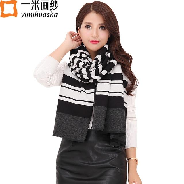 2016 рождество решетки полосы печатных толстые пашмины шаль шарф для женщин зима имитация Кашемира wrap Удлинить размер 190 * 65c