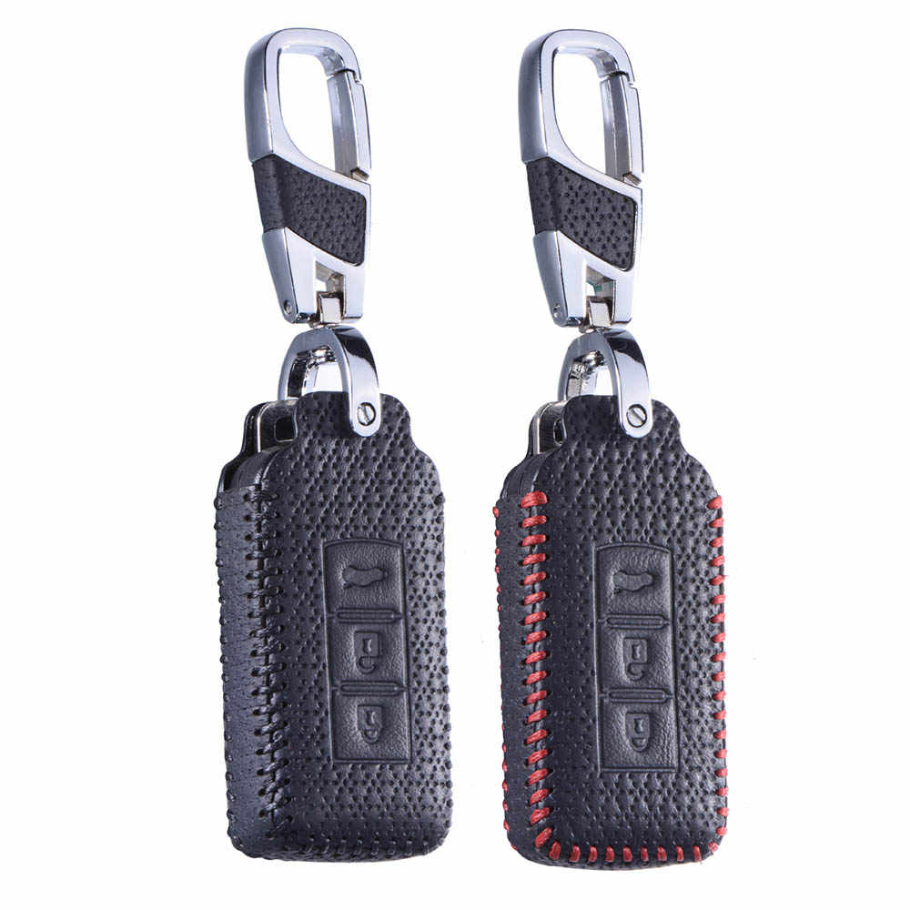 Leather Remote Holder Keychain for Mitsubishi Outlander Lancer10 EX Pajero Galant Sport ASX RVR L200 Smart Fob Shell Sleeve