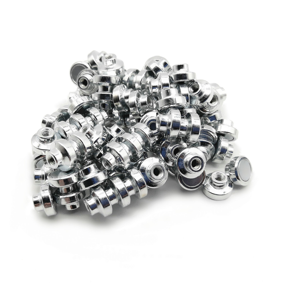 100 Pcs Mounting Magnet Diameter 10mm & 12mm Magnetic Pots With M3 Screw Neodymium Cup Magnet LED Fixing Adapter Fixer