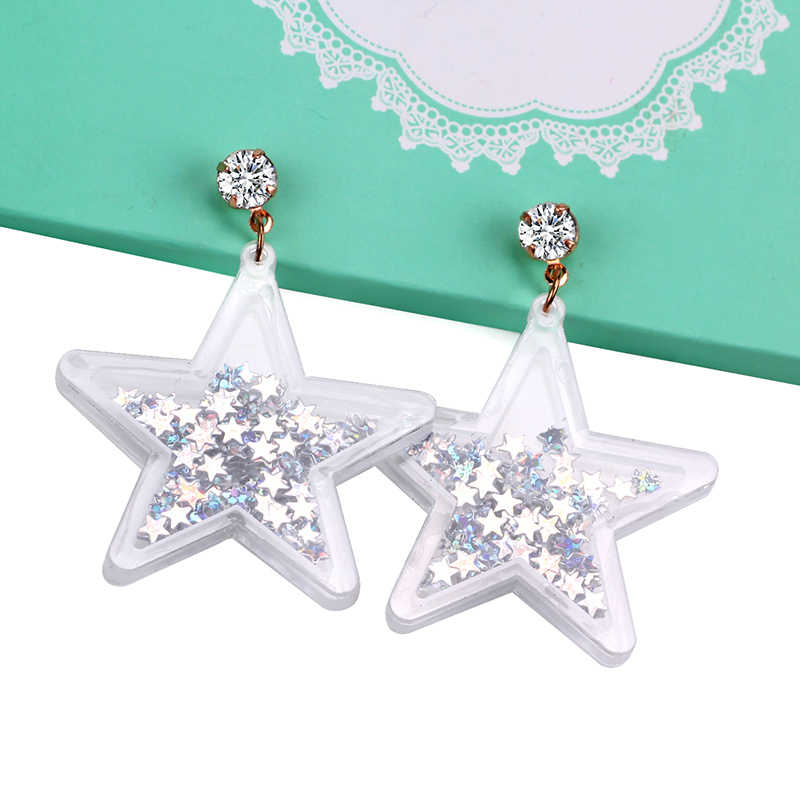 2018 New Hiphop Stars Acrylic Drop Glitter Crystal Shiny Earring Women Punk Night Club Rock Fashion Accessories Dangle Earrings