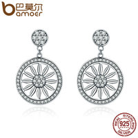BAMOER Authentic 925 Sterling Silver Bohemia Ethnic Daisy Drop Earrings For Women Vintage Earrings Jewelry Gift