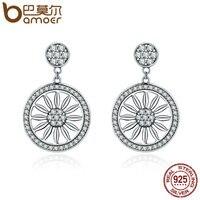 BAMOER Authentic 925 Sterling Silver Bohemia Ethnic Daisy Drop Earrings For Women Vintage Earrings Jewelry Gift