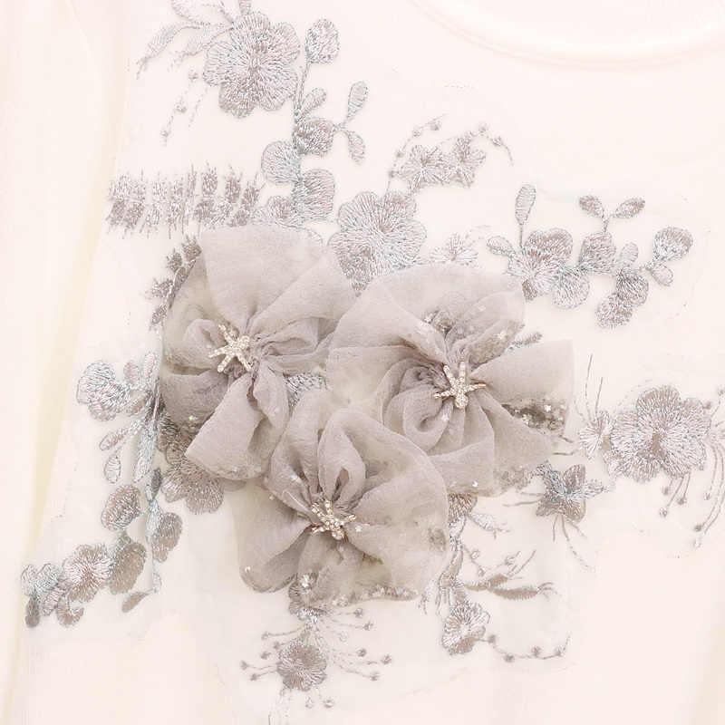 Демисезонный для женщин бисер цветы с длинным рукавом вязаный свитер джинсовые штаны комплект из двух предметов повседневные джинсы-карандаши костюмы с вышивкой