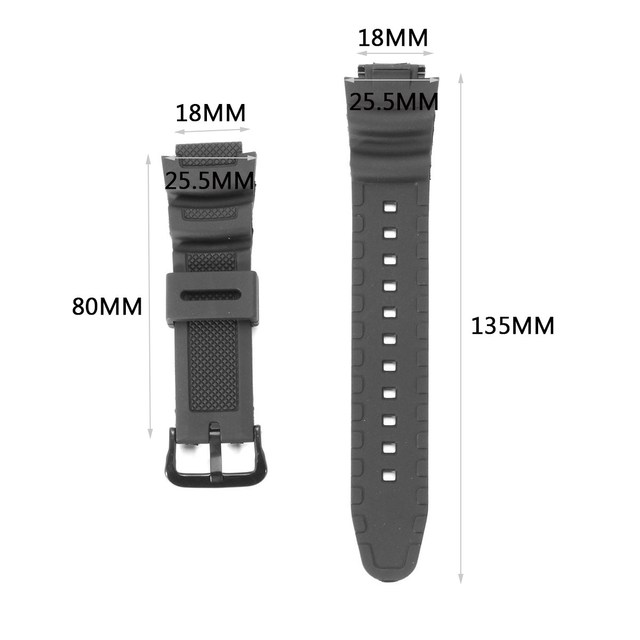 18mm Rubber Watchband Sport Silicone Black Watch Wrist Bracelet Replacement Stra