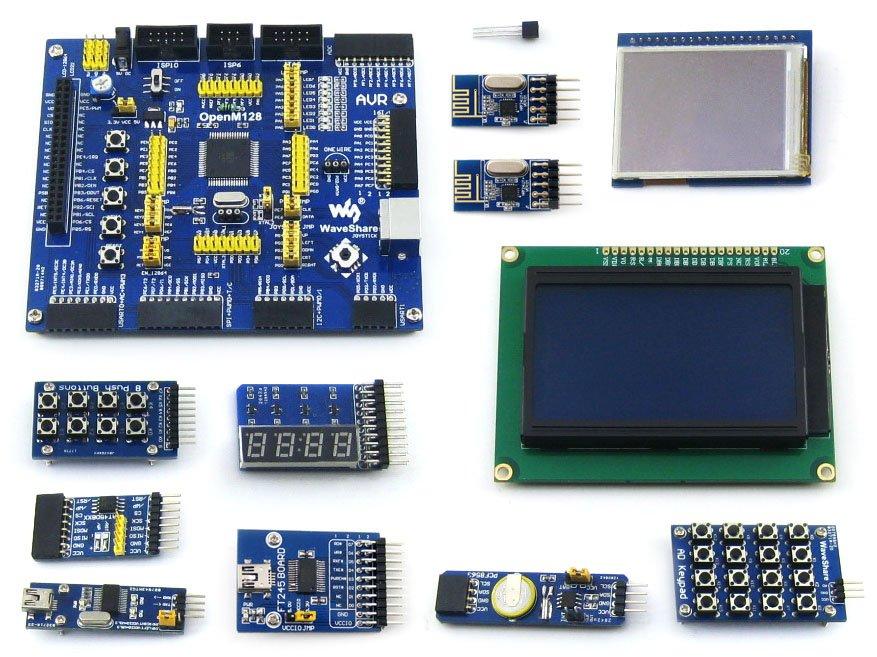 AVR Development Board ATmega128A-AU 8-bit RISC AVR ATmega128 Development Board +11 Accessory Kits =OpenM128 Package B module xilinx xc3s500e spartan 3e fpga development evaluation board lcd1602 lcd12864 12 module open3s500e package b