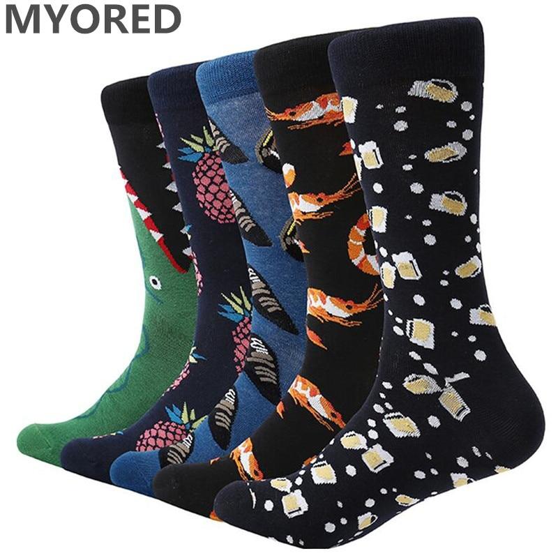 MYORED Funny Long-Socks Causal-Dress Novelty Colorful Cartoon-Style Fruit for Man 5-Pair/Lot