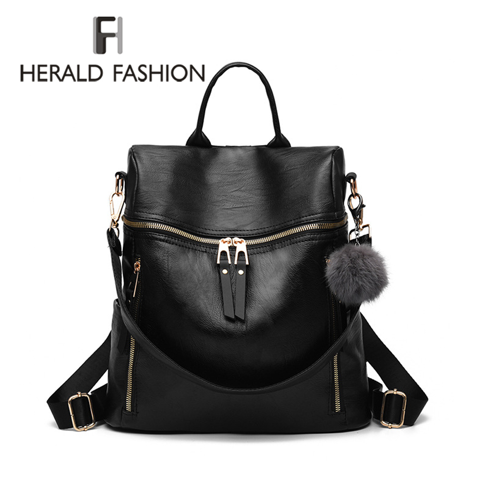 Herald Fashion Simple Backpack Women PU Leather Backpack For Teenage Girls School Bags Fashion Vintage Solid Black Shoulder Bag mara s dream 2018 backpack simple style women pu leather backpacks for teenage girls school bags vintage solid shoulder bag