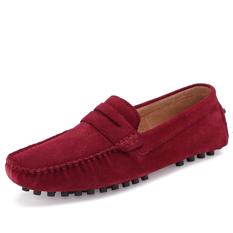 Big Size Comfortable Men Flats New Casual Shoes Men Flock Leather Shoe For Men Non Slip Rubber Outsole Men Loafers 46