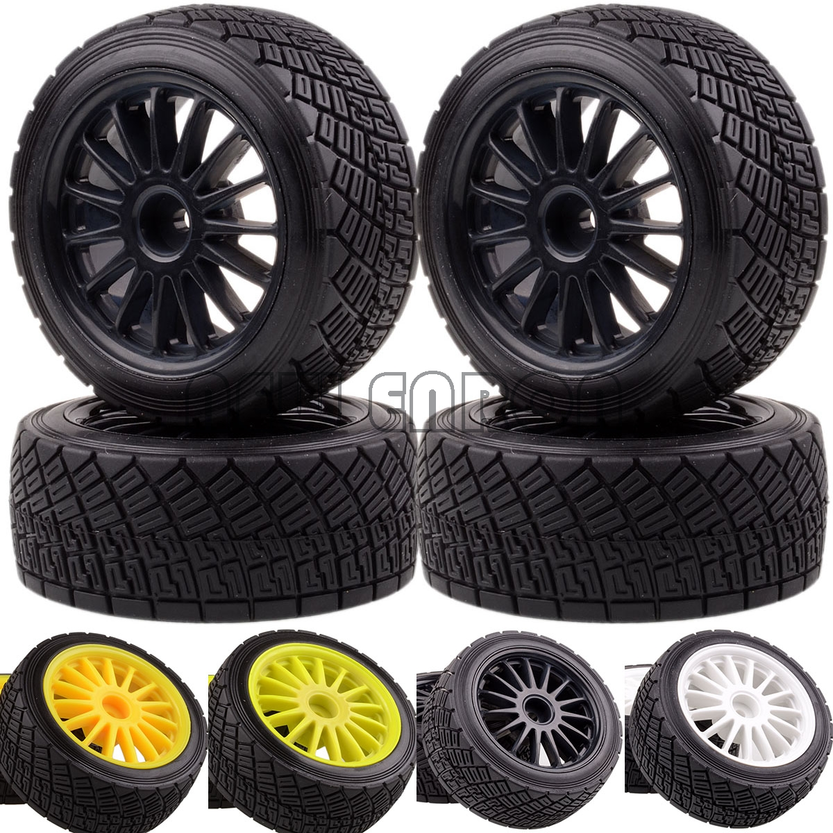 NEW ENRON 4PCS <font><b>2.2</b></font> Inch Wheel Rims Hub & <font><b>Tires</b></font> Tyre RC CAR PART RC CAR 1/10 Fit 1:10 HPI WR8 Flux Rally 3.0 110697 94177 image