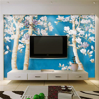 Beibehang Custom 3d Wall Paper Magnolia Flower Making Tree Wallpaper Living Room Sofa Bedroom TV Wall
