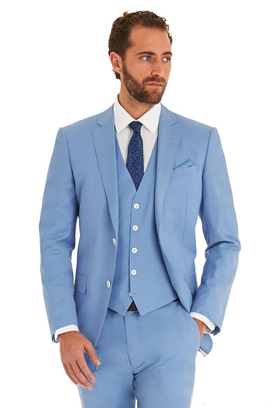 Casual Style Custom Fit Tuxedo Business Suits Blue Color Bridegroon ...