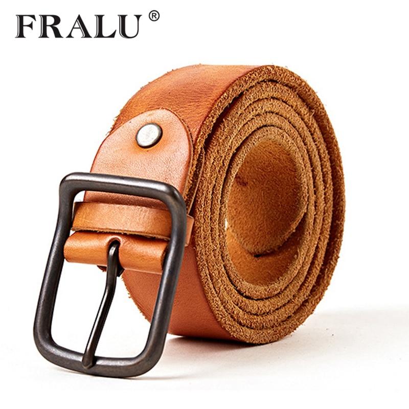 FRALU 100% hovězí kůže pravé kožené opasky pro muže Značkové řemínky Mužské spony Fancy Vintage Cowboy Jeans Cintos Freeshipping