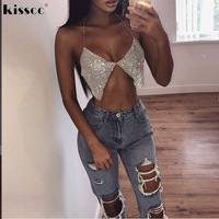 Sexy Rhinestone Halter Summer Party Crop Tops Metal Chain Hollow Out Club Tanks Backless Off Shoulder