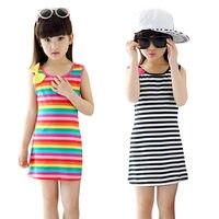 Striped Girls Dresses Casual Children Clothing Bow O Neck Kids Dresses Baby Girl Dress Beach Children