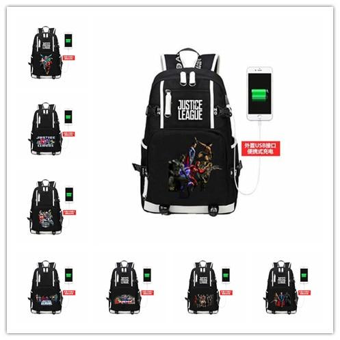 Justice League heros batman/superman Laptop Backpack  External USB Charge Bag  School Bags Teenagers Unisex Shoulder bag
