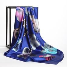 Women Navy Blue Silk-Satin Fashion Square Scarves 2018 New Spring 20-Colors Hot Sale Scarf Head Shawl Hijab 90cm*90cm