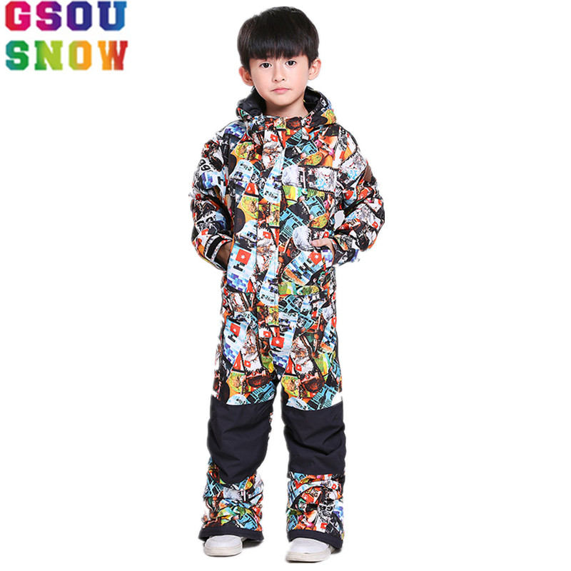 GSOU SNOW Brand Kids Ski Suit One Piece Boys Children Snowboard Suit Winter Outdoor Skiing Snowboarding Waterproof Sport Clothes