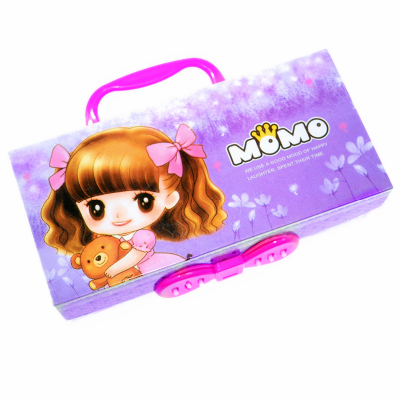 Purple cute pencil case with lock handle password girl Paper 3 layer cartoon school pencil box pouch bag kawaii material escolar