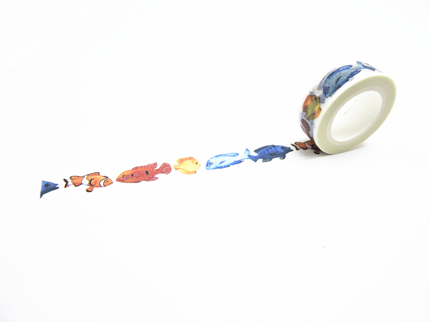 2016 New Printing Washi Tape Office Adhesive Scrapbooking Tools Kawaii Decorative Great Christmas Cute Craft Gift  Fish